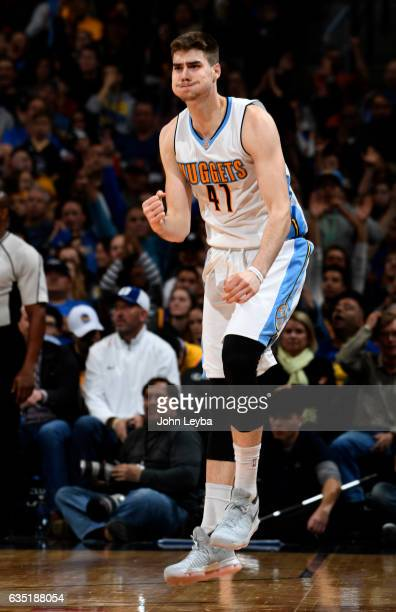 Denver Nuggets forward Juancho Hernangomez pumps his fist after hitting a three pointer during the fourth quarter against the Golden State Warriors...