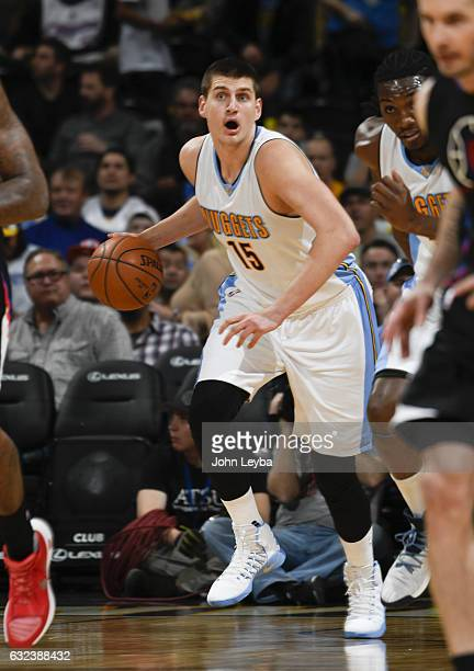 Denver Nuggets forward Nikola Jokic pushes the ball up court during their game against the Los Angeles Clippers January 21 2016 at Pepsi Center