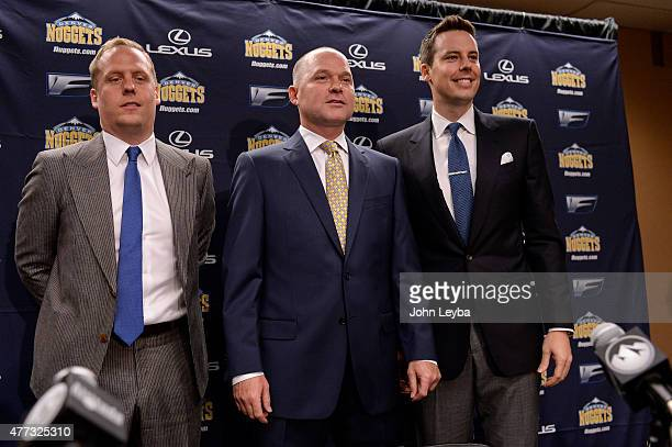 Denver Nuggets General Manager Executive VP Basketball Operations Mike Connelly coach Michael Malone and President and Governor Josh Kroenke pose for...
