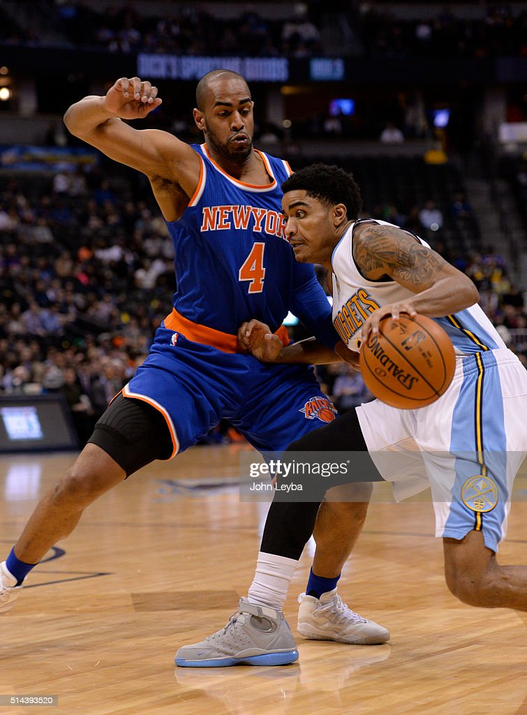 Denver Nuggets guard <a gi-track='captionPersonalityLinkClicked' href=/galleries/search?phrase=Gary+Harris+-+Basketball+Player&family=editorial&specificpeople=10612733 ng-click='$event.stopPropagation()'>Gary Harris</a> (14) drives on New York Knicks guard <a gi-track='captionPersonalityLinkClicked' href=/galleries/search?phrase=Arron+Afflalo&family=editorial&specificpeople=640861 ng-click='$event.stopPropagation()'>Arron Afflalo</a> (4) during the first quarter March 8, 2016 at Pepsi Center.