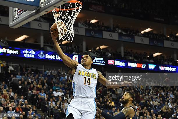 Denver Nuggets' guard Gary Harris drives to the basket during the NBA Global Game London 2017 basketball game between Indiana Pacers and Denver...
