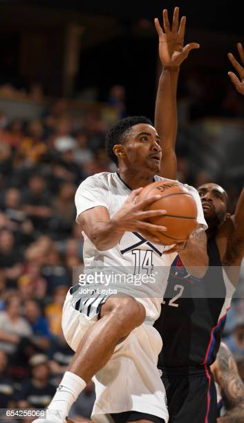 Denver Nuggets guard Gary Harris drives under the basket on LA Clippers forward Luc Mbah a Moute during the second quarter on March 16 2017 in Denver...