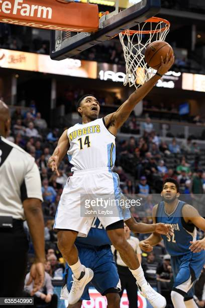 Denver Nuggets guard Gary Harris goes up for a basket during the first quarter against the Minnesota Timberwolves February 15 2017 at Pepsi Center