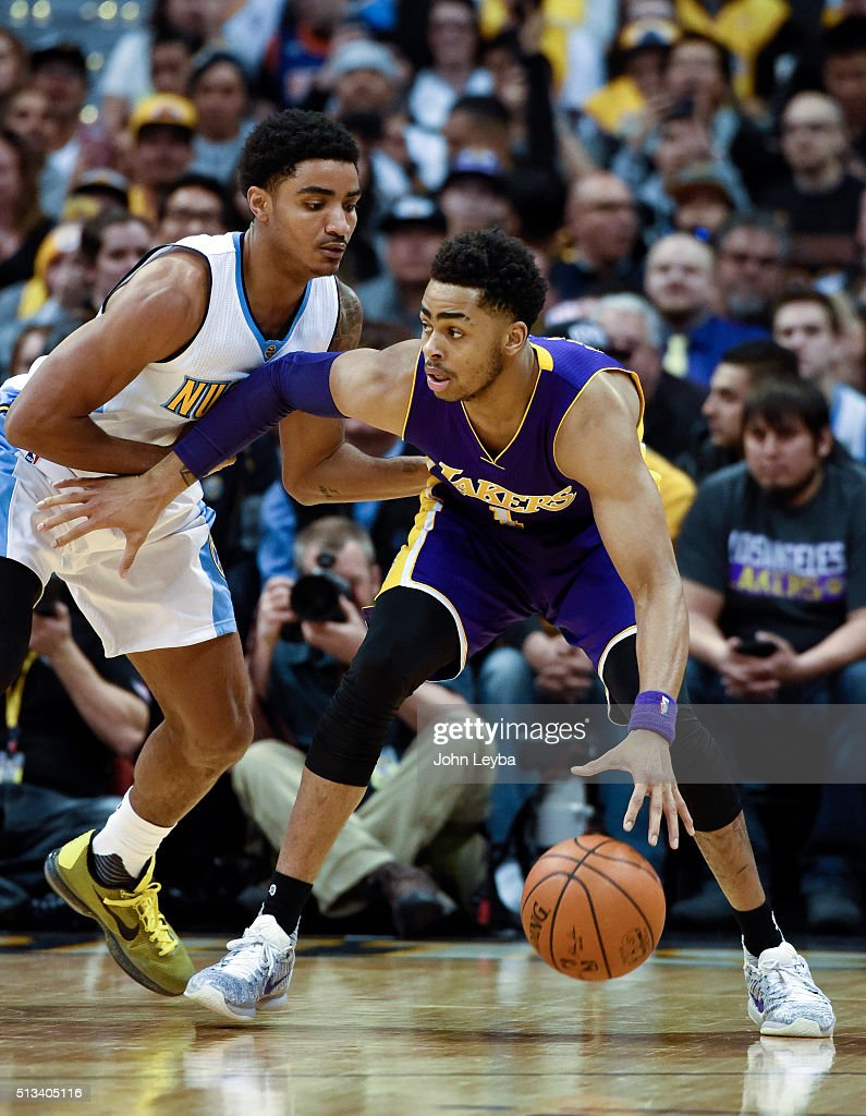 Denver Nuggets guard <a gi-track='captionPersonalityLinkClicked' href=/galleries/search?phrase=Gary+Harris+-+Basketball+Player&family=editorial&specificpeople=10612733 ng-click='$event.stopPropagation()'>Gary Harris</a> (14) guards Los Angeles Lakers guard <a gi-track='captionPersonalityLinkClicked' href=/galleries/search?phrase=D%27Angelo+Russell&family=editorial&specificpeople=9612479 ng-click='$event.stopPropagation()'>D'Angelo Russell</a> (1) during the first quarter March 2, 2016 at Pepsi Center.