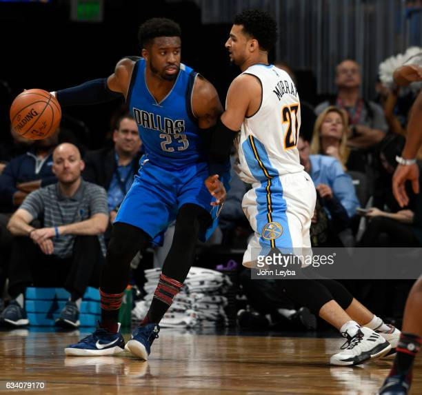 Denver Nuggets guard Jamal Murray close guards Dallas Mavericks guard Wesley Matthews during the first quarter February 6 2017 at Pepsi Center