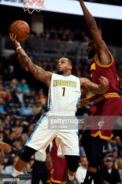Denver Nuggets guard Jameer Nelson drives the the basket pas Cleveland Cavaliers center Tristan Thompson during the first quarter on March 22 2017 in...