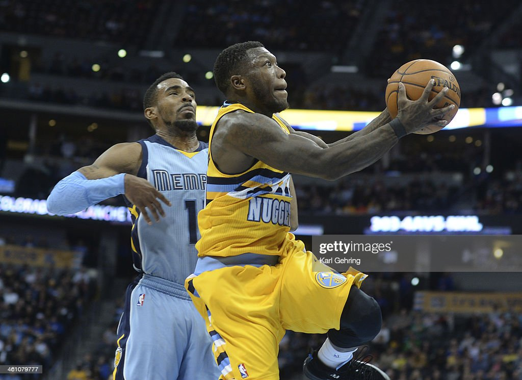 Denver Nuggets guard <a gi-track='captionPersonalityLinkClicked' href=/galleries/search?phrase=Nate+Robinson&family=editorial&specificpeople=208906 ng-click='$event.stopPropagation()'>Nate Robinson</a> (4) drove past Memphis guard Mike Conley (11) for a bucket in the fourth quarter. The Denver Nuggets broke an eight-game losing streak with a 111-108 win over the Memphis Grizzlies at the Pepsi Center Friday night, January 3, 2014. Photo By Karl Gehring/The Denver Post via Getty Images