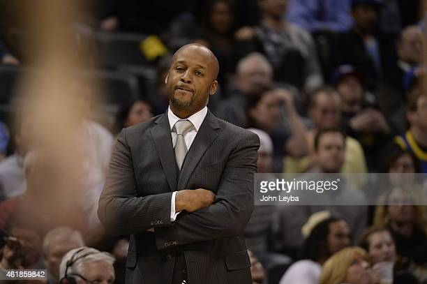 Denver Nuggets head coach Brian Shaw looks for answers for his team as the lose to the San Antonio Spurs 10999 January 20 2015 at Pepsi Center