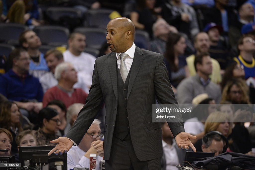 Denver Nuggets head coach <a gi-track='captionPersonalityLinkClicked' href=/galleries/search?phrase=Brian+Shaw+-+Basketball+Coach&family=editorial&specificpeople=11376247 ng-click='$event.stopPropagation()'>Brian Shaw</a> reacts to his bench during their lose to the San Antonio Spurs 109-99 January 20, 2015 at Pepsi Center.
