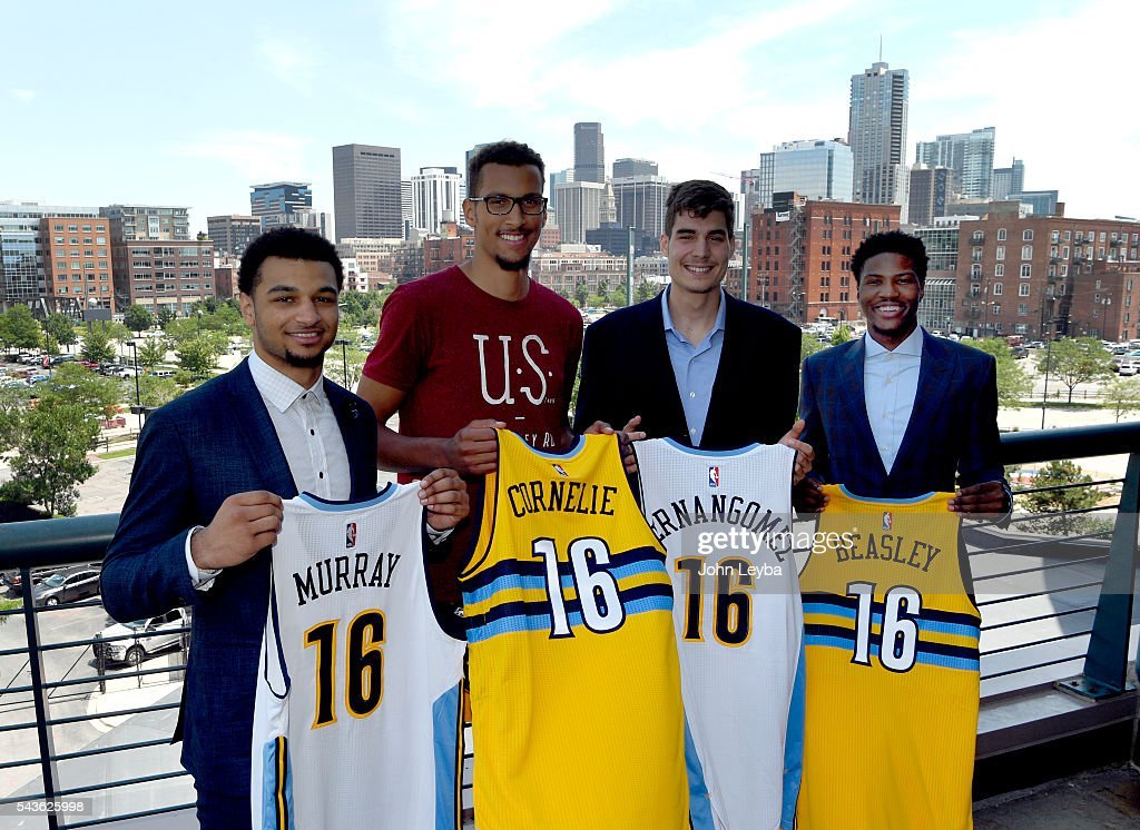 Denver Nuggets introduce their top draft picks during an introductory news conference June 29, 2016 at Pepsi Center. Left to right Jamal Murray, Petr Cornelie, Juan Hernangomez and Malik Beasley.