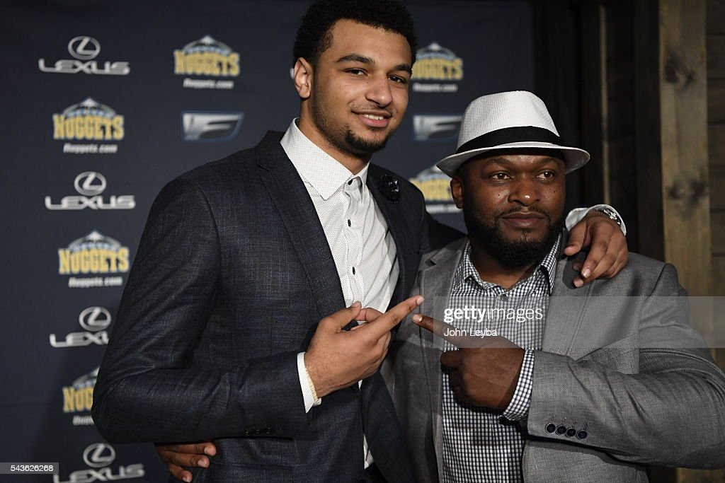 Denver Nuggets introduce their top draft picks during an introductory news conference June 29, 2016 at Pepsi Center. Jamal Murray with his dad Roger Murray pose for a photo after the press conference.