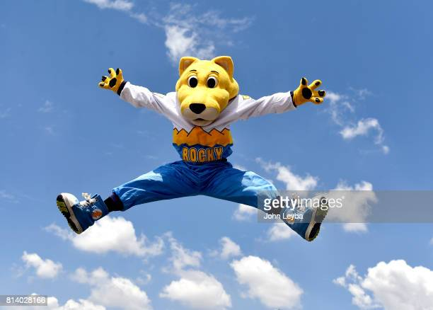 Denver Nuggets macot Rocky jumps for joy as the Nuggets officially announced the signing of Paul Millsap on July 13 2017 at a press conference at the...