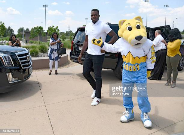 Denver Nuggets officially announced the signing of Paul Millsap on July 13 2017 at a press conference at the Montbello Rec Center Millsap pulls up as...