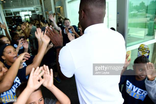 Denver Nuggets officially announced the signing of Paul Millsap on July 13 2017 at a press conference at the Montbello Rec Center Millsap high fives...