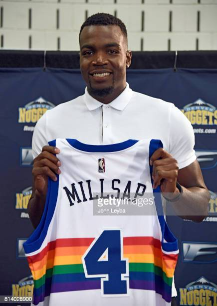 Denver Nuggets officially announced the signing of Paul Millsap on July 13 2017 at a press conference at the Montbello Rec Center Millsap stands with...
