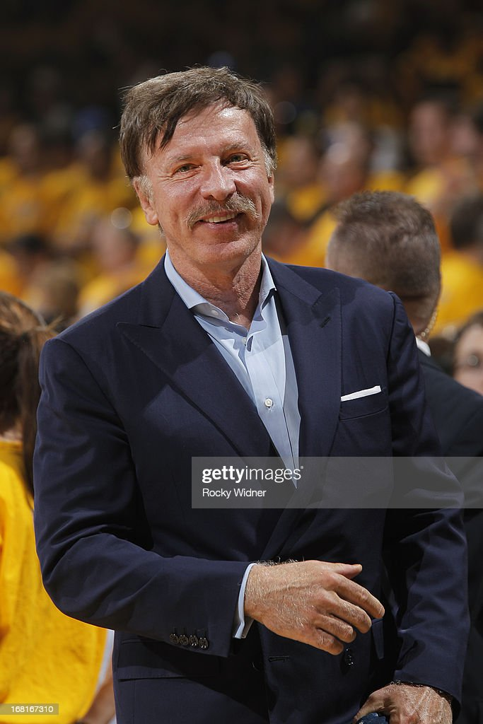 Denver Nuggets owner Stan Kroenke watches his team face off against the Golden State Warriors in Game Six of the Western Conference Quarterfinals during the 2013 NBA Playoffs on May 2, 2013 at Oracle Arena in Oakland, California.