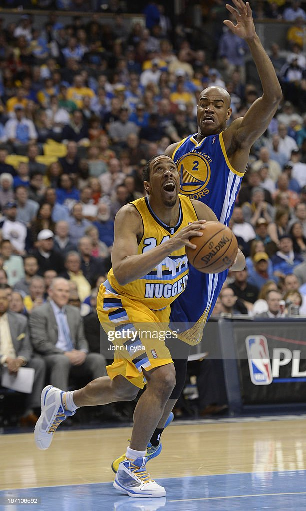 Denver Nuggets point guard Andre Miller (24) looks to the basket against Golden State Warriors point guard Jarrett Jack (2) in the second quarter. The Denver Nuggets took on the Golden State Warriors in Game 1 of the Western Conference First Round Series at the Pepsi Center in Denver, Colo. on April 20, 2013.