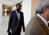 Denver Nuggets point guard Ty Lawson arrives for a court hearing at the Lindsey Flanigan Courthouse for DUI July 17 2015 Lawson was charged with a...