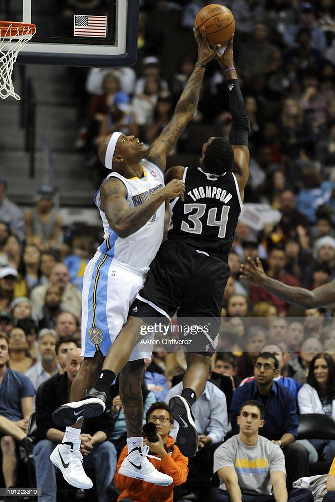 Denver Nuggets power forward Al Harrington blocks a shot by Sacramento Kings center Jason Thompson during the second half of the Nuggets' 119116 win...