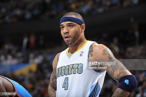 Denver Nuggets power forward Kenyon Martin looks on during action against the Oklahoma City Thunder in Game Three of the Western Conference...