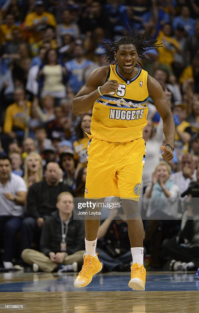 Denver Nuggets small forward Kenneth Faried (35) celebrates a basket in the fourth quarter. The Denver Nuggets took on the Golden State Warriors in Game 2 of the Western Conference First Round Series at the Pepsi Center in Denver, Colo. on April 23, 2013.