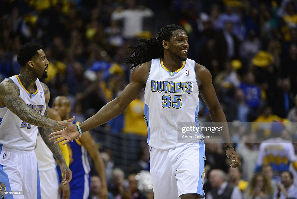 Denver Nuggets small forward Kenneth Faried (35) celebrates in the second quarter. The Denver Nuggets took on the Golden State Warriors in Game 5 of the Western Conference First Round Series at the Pepsi Center in Denver, Colo. on April 30, 2013.