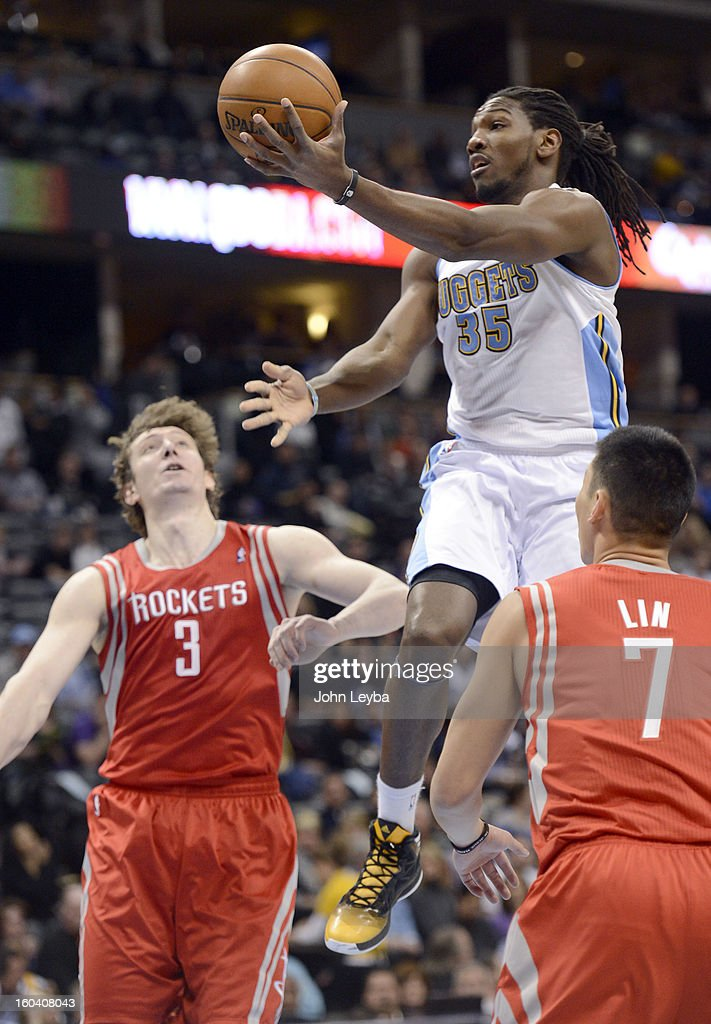 Denver Nuggets small forward Kenneth Faried (35) drives past Houston Rockets center Omer Asik (3) and Jeremy Lin during the first quarter January 30, 2013 at Pepsi Center. The Denver Nuggets take on the Houston Rockets in NBA action.
