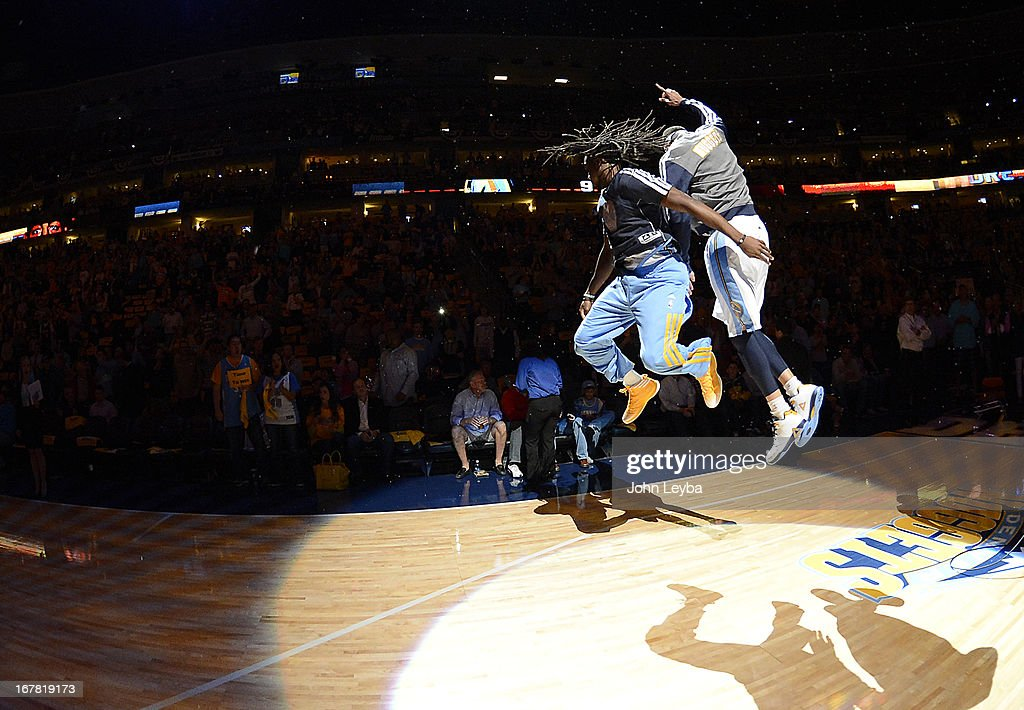 Denver Nuggets small forward Kenneth Faried (35) jumps up against Denver Nuggets center JaVale McGee (34) before the start of the game. The Denver Nuggets took on the Golden State Warriors in Game 5 of the Western Conference First Round Series at the Pepsi Center in Denver, Colo. on April 30, 2013.