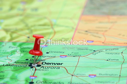 Denver Pinned On A Map Of Usa Stock Photo | Thinkstock on