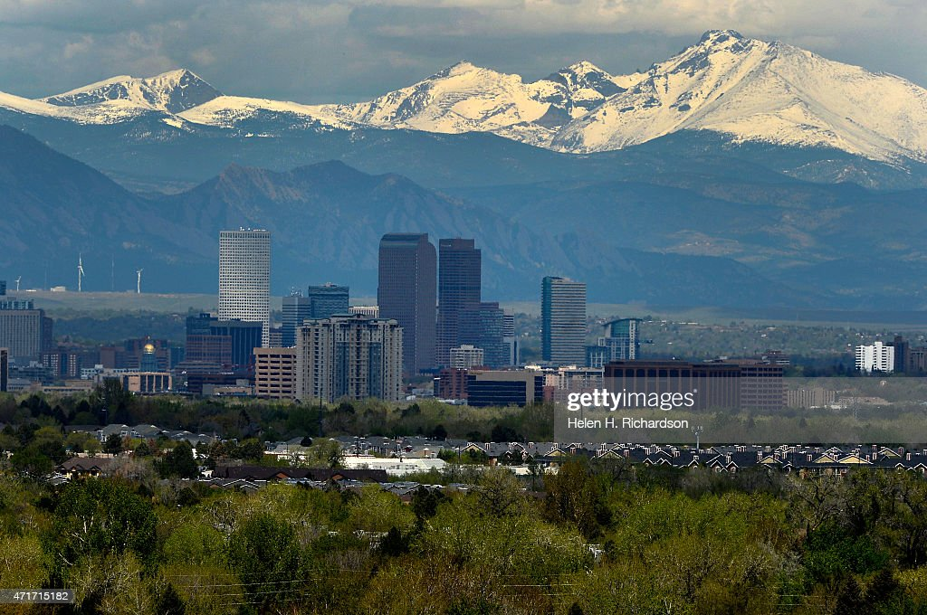 Denver Skyline as seen from the Cherry Creek Dam road in Denver Colorado on April 30 2015