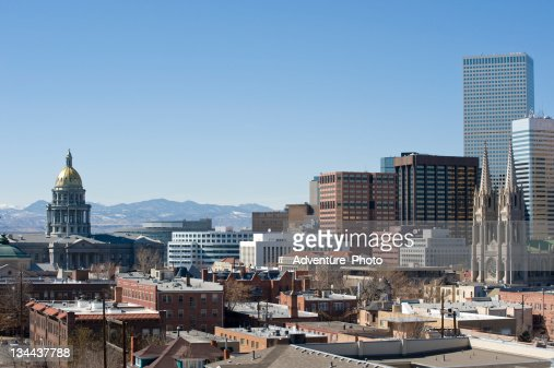 Denver State Capitol Building and Skyline with Mountain View