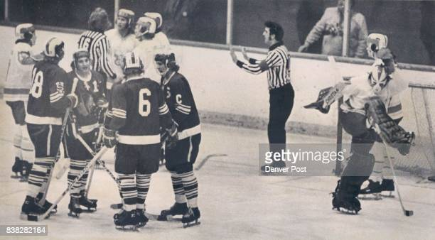 Denver University Ice Hockey DU Goalie Pete Lo Presti Expresses Disgust at Questionable First North Dakota Pioneer kicks air while teammates argue...