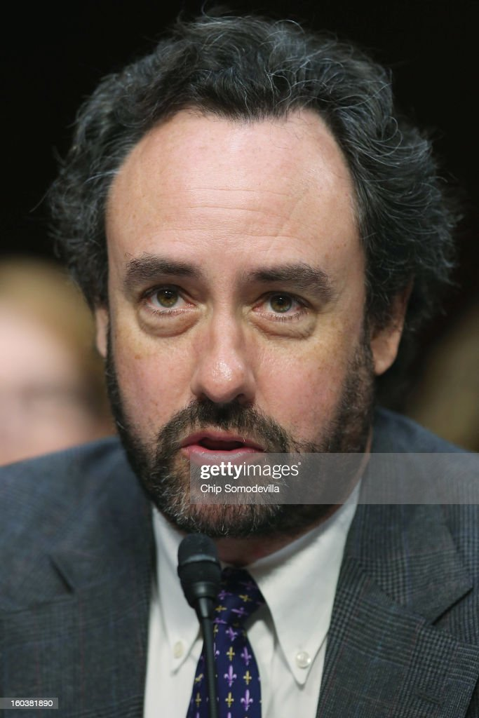 Denver University Professor David Kopel testifies during a Senate Judiciary Committee hearing about gun control on Capitol Hill January 30, 2013 in Washington, DC. Shooting victim and former U.S. Rep. Gabby Giffords (D-AZ) delivered an opening statment to the committee, which met for the first time since the mass shooting at a Sandy Hook Elementary School in Newtown, Connecticut.