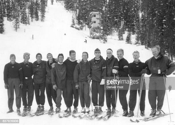 Denver university's victorious ski team poses after winning the national championship last Sunday at the NCAA meet at Winter Park Left to right are...