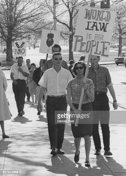 Denverites Protest Bomb Pickets parade in Denver Civic Center Saturday to protest nuclear weapons testing by the United States Members of the Denver...