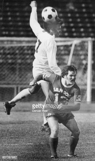 Denver's Ian Robins Controls Ball With Head Scores Robins beats San Jose's Davey Kemp to ball scores unassisted goal Credit Denver Post