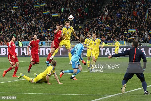 Denys Garmash of Ukraine national team attacks Spain's gate during the European Qualifiers 2016 match between Ukraine and Spain national teams at NSK...