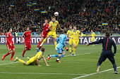 Denys Garmash of Ukraine national team attacks Spain's goal during the European Qualifiers 2016 match between Ukraine and Spain national teams at NSK...