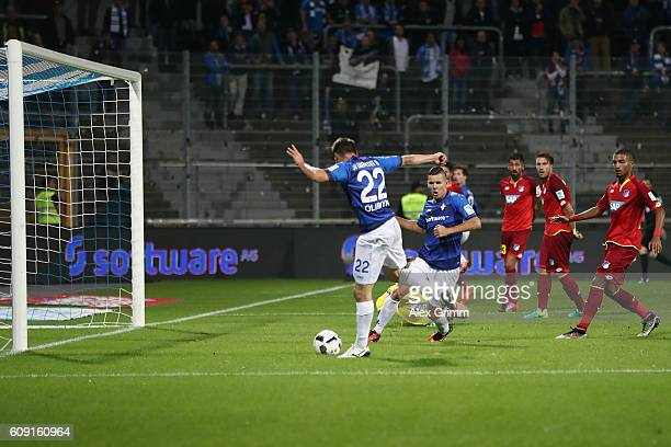 Denys Oliynik of Darmstadt scores his team's first goal during the Bundesliga match between SV Darmstadt 98 and TSG 1899 Hoffenheim at...