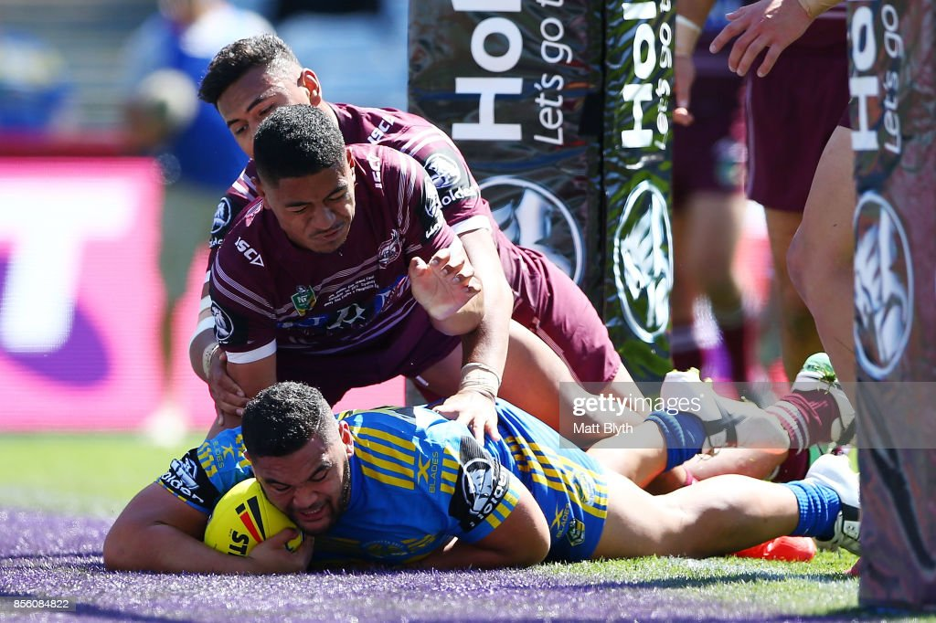 Denzal Tonise of the Eels scores a try during the 2017 Holden Cup Grand Final match between the Manly Sea Eagles and the Parramatta Eels at ANZ Stadium on October 1, 2017 in Sydney, Australia.