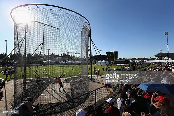 Denzel Comenentia of the Netherlands throws the hammer in the final of the men's hammer throw during day four of the IAAF World Junior Championships...