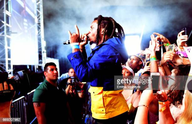 Denzel Curry performs at the Mojave tent during day 3 of the Coachella Valley Music And Arts Festival at the Empire Polo Club on April 16 2017 in...
