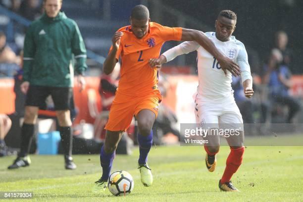 Denzel Dumfries of Holland U21 Ademola Lookman of England U21 during the EURO U21 2017 qualifying match between Netherlands U21 and England U21 at...