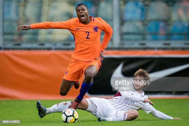 Denzel Dumfries of Jong Oranje Ivanovs Nikita of Jong Letland during the EURO U21 2017 qualifying match between Netherlands U21 and Latvia U21 at the...