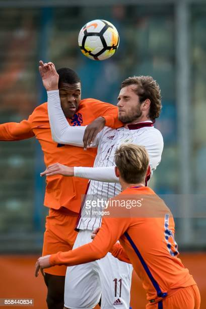 Denzel Dumfries of Jong Oranje Ivanovs Nikita of Jong Letland Frenkie de Jong of Jong Oranje during the EURO U21 2017 qualifying match between...