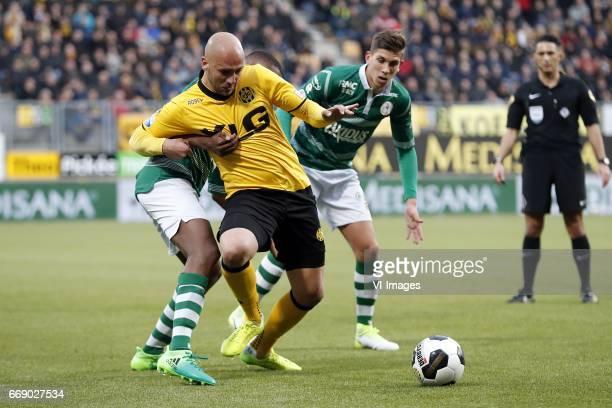 Denzel Dumfries of Sparta Rotterdam Dani Schahin of Roda JC Stijn Spierings of Sparta Rotterdam referee Serdar Gozubuyukduring the Dutch Eredivisie...