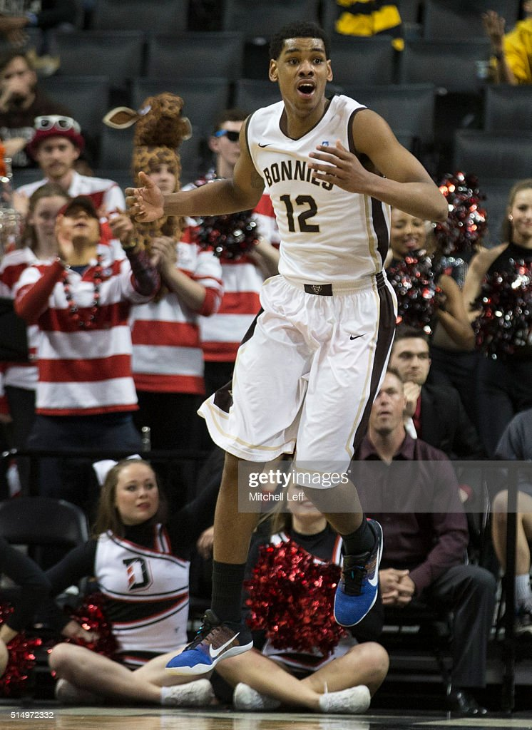 Denzel Gregg of the St Bonaventure Bonnies reacts in the game against the Davidson Wildcats in the quarterfinals round of the men's Atlantic 10...