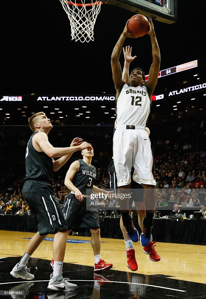 Denzel Gregg of the St Bonaventure Bonnies shoots against the Davidson Wildcats during the Quarterfinals of the Atlantic 10 Basketball Tournament at...