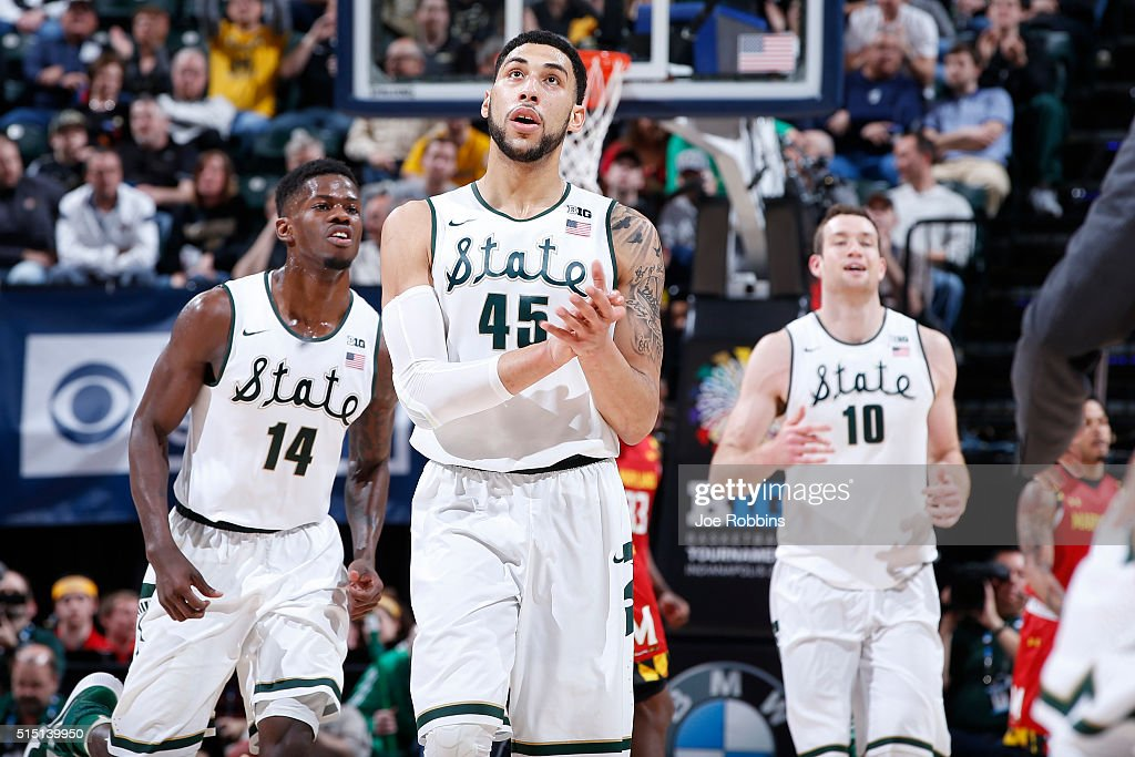 <a gi-track='captionPersonalityLinkClicked' href=/galleries/search?phrase=Denzel+Valentine&family=editorial&specificpeople=9980674 ng-click='$event.stopPropagation()'>Denzel Valentine</a> #45, <a gi-track='captionPersonalityLinkClicked' href=/galleries/search?phrase=Eron+Harris&family=editorial&specificpeople=10077416 ng-click='$event.stopPropagation()'>Eron Harris</a> #14 and <a gi-track='captionPersonalityLinkClicked' href=/galleries/search?phrase=Matt+Costello+-+Basketball+Player&family=editorial&specificpeople=14309674 ng-click='$event.stopPropagation()'>Matt Costello</a> #10 of the Michigan State Spartans react against the Maryland Terrapins in the semifinals of the Big Ten Basketball Tournament at Bankers Life Fieldhouse on March 12, 2016 in Indianapolis, Indiana.