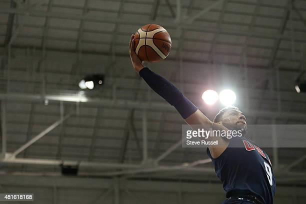 TORONTO ON JULY 22 Denzel Valentine goes up for a dunk as Team USA beats Team Puerto Rico in the Pan Am basketball tournament at Ryerson Athletic...